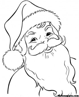 coloring pages of christmas Santa Claus Face