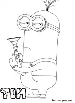 Print Out Disney Two Eyed Minion Tim Despicable Me 2 Coloring Pages