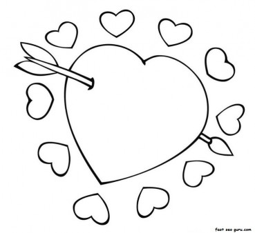 Cupid Arrow Through The Heart Valentine Coloring Pages