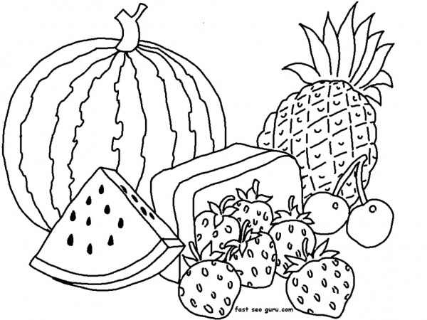 Half And Whole Watermelon Coloring Template Coloring Pages