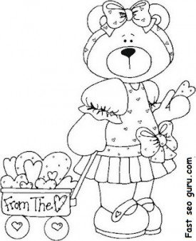 Printable Valentines Day sweet teddy bear coloring pages