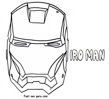 Print out superheroes Iron Man Mask Coloring Pages  Printable