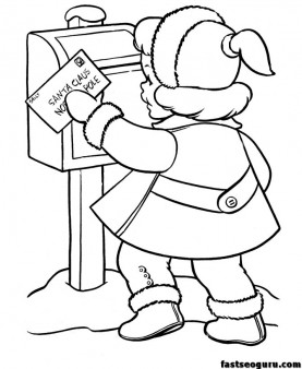 little girl sending a letter to Santa Claus coloring print out