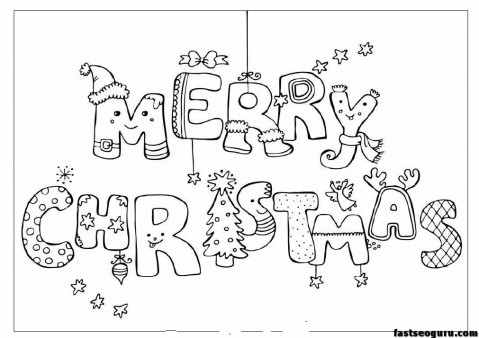 merry christmas print out coloring pages - Christmas Print Coloring Pages