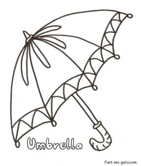 Printable umbrella coloring in pages for preschool