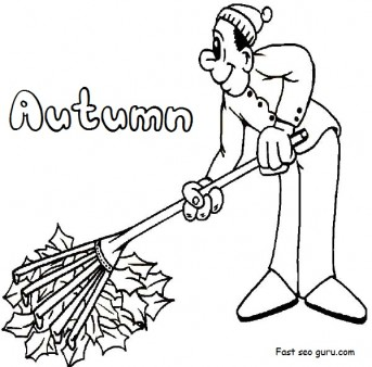 Printable Clean Fall Leaves coloring pages for kindergarten