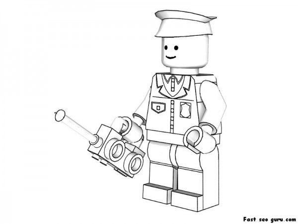 Printable Lego policeman coloring pages