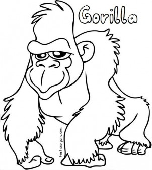 Free Printable gorilla coloring sheets