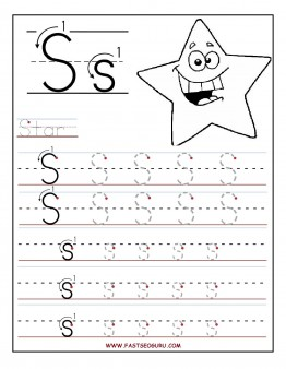 Printable letter S tracing worksheets for preschool Printable