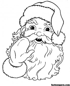 printable santa claus face cola coloring pages