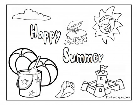 Printable happy summer beach coloring pages