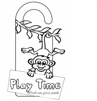 Printable monkey doorknob hanger craft for kids play time