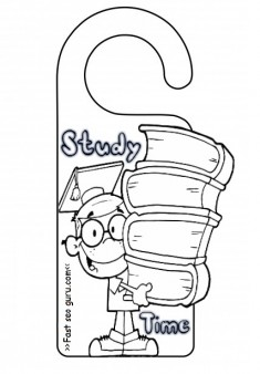 Printable study time door hanger coloring pages for kids  sc 1 st  fastseoguru.com : printable door - pezcame.com