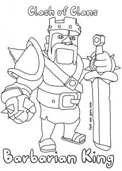 Printable clash of clans barbarianking coloring pages