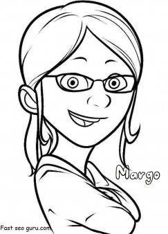Printable despicable me 2 characters margo coloring pages for kids