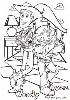 Disney toy story 4 woody and buzz coloring pages for kids