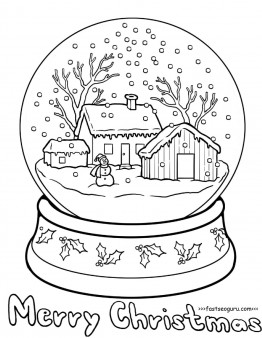Printable christmas snow globe coloring pages for kids Printable