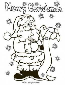 image relating to Printable Santa Claus titled Printable santa claus xmas desire checklist coloring web pages