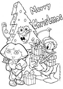 Printable christmas dora spongebob