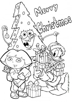 Printable Christmas Dora Spongebob And Donald Duck Coloring Pages