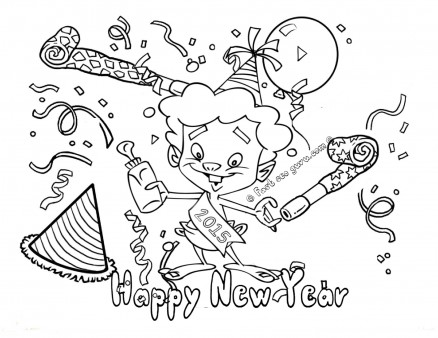 Happy New Year Hello Kitty 2019 Coloring Page - Free Coloring ... | 338x438