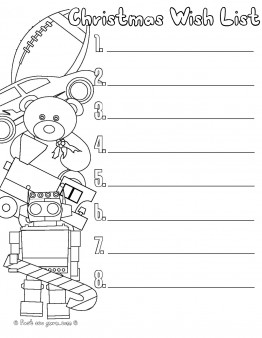 Printable christmas wishlist for santa  Printable Coloring Pages