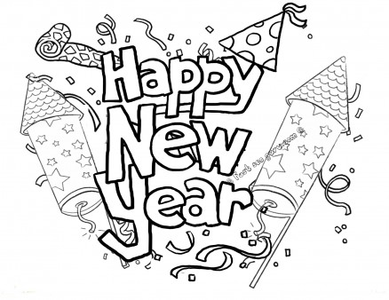 Printable Happy New Year Fireworks Coloring Pages