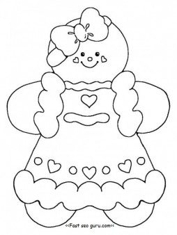 Printable gingerbread girl coloring