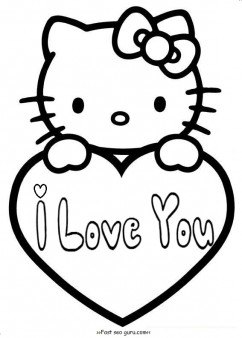 hello kitty valentines day coloring pages for kids - Valentines Coloring Pages