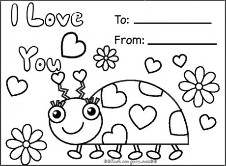 Print out happy valentines day ladybug coloring cards - Printable ...
