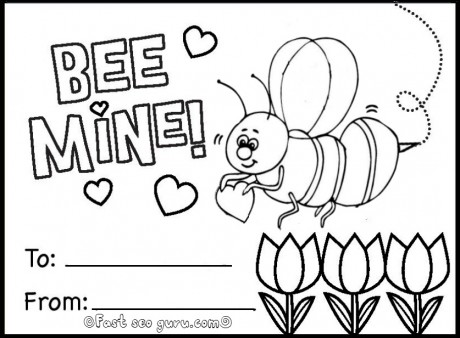 Printable bee mine valentine card coloring in Printable Coloring – Online Printable Valentine Cards