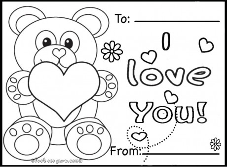 printable valentines day cards teddy bears coloring pages - Valentine Coloring Pages For Kids