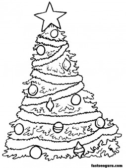 coloring pages of Christmas trees with decorative