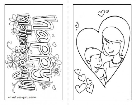 graphic about Printable Mothers Day Cards for Kids known as content moms working day playing cards towards print and colour - Printable