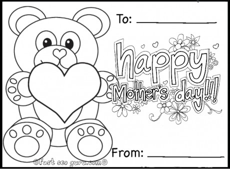 Printable happy mothers day teddy bear card coloring in