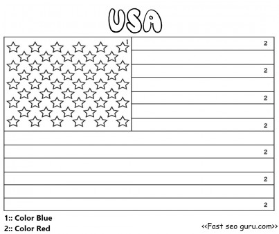 Printable usa flag color by number for preschool - Printable ...