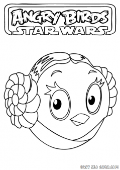 Printable Angry Birds Star Wars Princess Leia Coloring Page