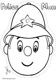 Printable policeman mask template cut out