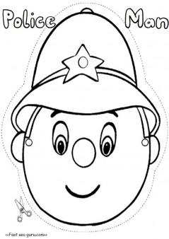 Printable policeman mask template cut out Printable