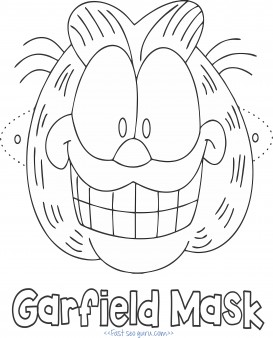 Printable garfield mask coloring page for kids