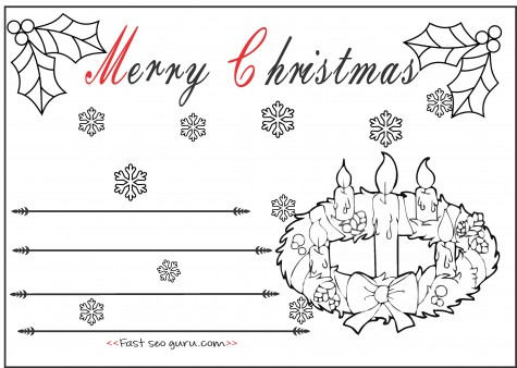 Kids Christmas Advent Wreath Candles Cards To Color In Printable
