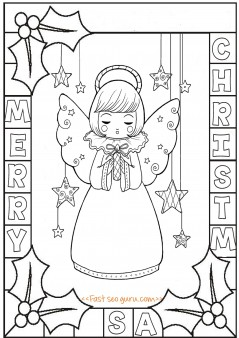 Printable cute angel chirstmas holly leaves coloring pages