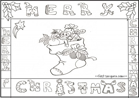 Printable Merry Christmas Stocking Colorng Pages on math sheets to print