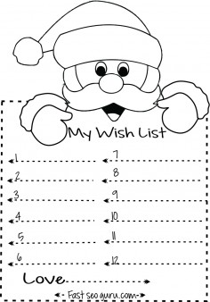 Print out christmas wish list to santa write template Printable