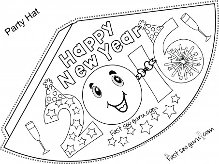Printable Happy New Year Party Hats Coloring For Kids  Printable