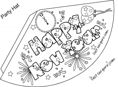 Print Out Happy New Year Party Hat Coloring For Kids  Printable