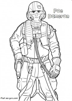 Star Wars the force awakens poe dameron coloring pages Printable