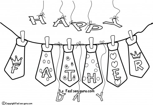 Print out father day ties coloring pages for kids - Printable ...