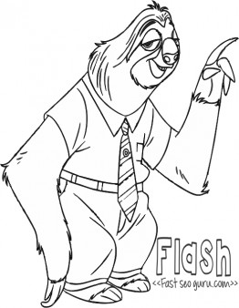 Printable Flash Zootopia Coloring Pages