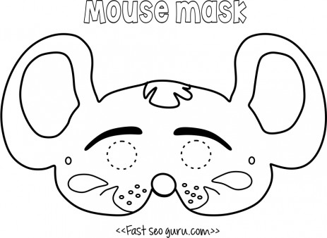 Printable Mouse Mask Coloring In Mask For Kids Printable Coloring